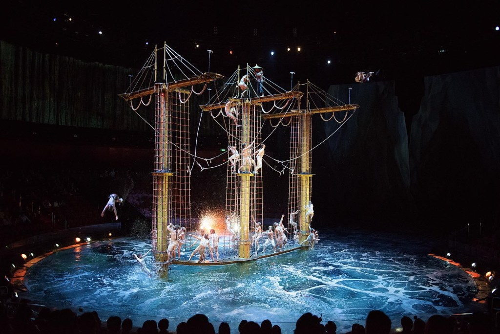 Acrobatic feats are performed on a pirate ship-like contraption at the House of Dancing Water