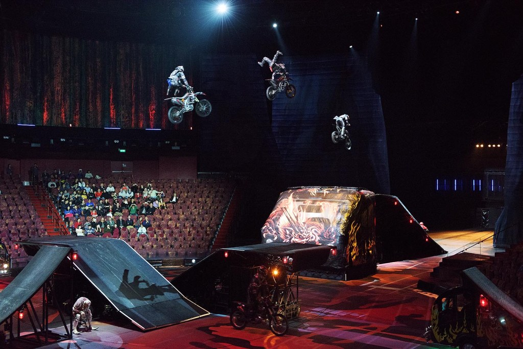 In the most mind-boggling portion of the show (in more ways than one, as their entrance is completely out of context), daredevil motorcyclists barrel onto the stage and propel off ramps into the air, often pulling off additional, incomprehensible mid-air stunts