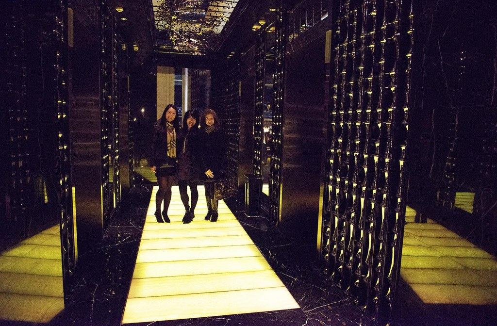 The dramatic lit runway near the elevator bank of Vida Rica, inside the Mandarin Oriental Macau