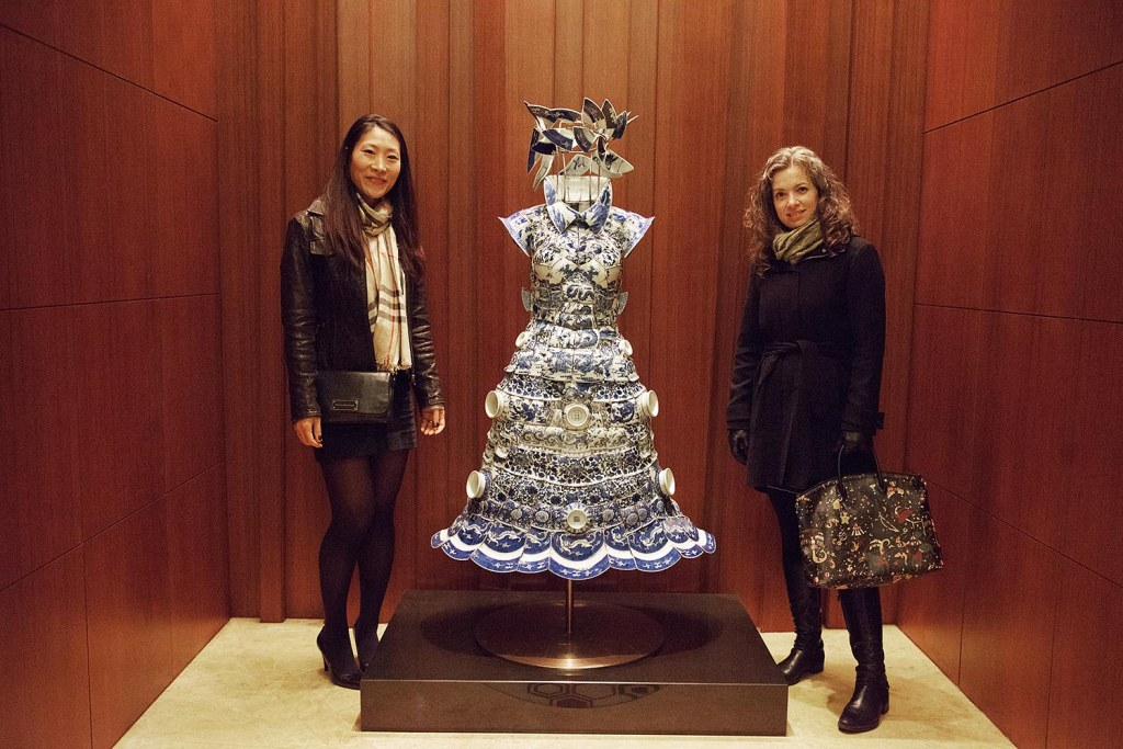 Ginny and Jen, with Li Xiaofeng's stunning porcelain dress installation on the ground floor of the Mandarin Oriental Macau