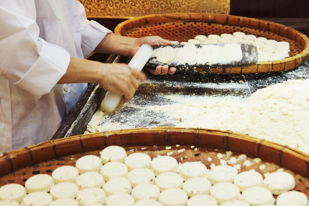 Behind the scenes, as Macau's well-known almond cookies are prepared...