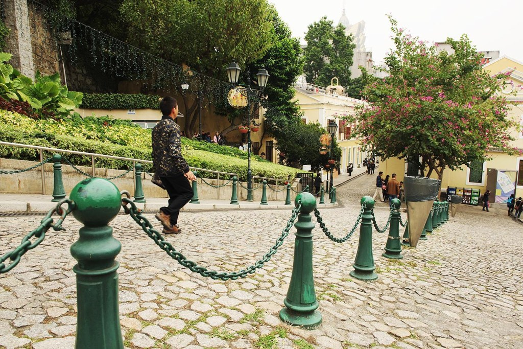 The quaint, green-filled, cobblestone path on the hill up to the ruins of St. Paul's...