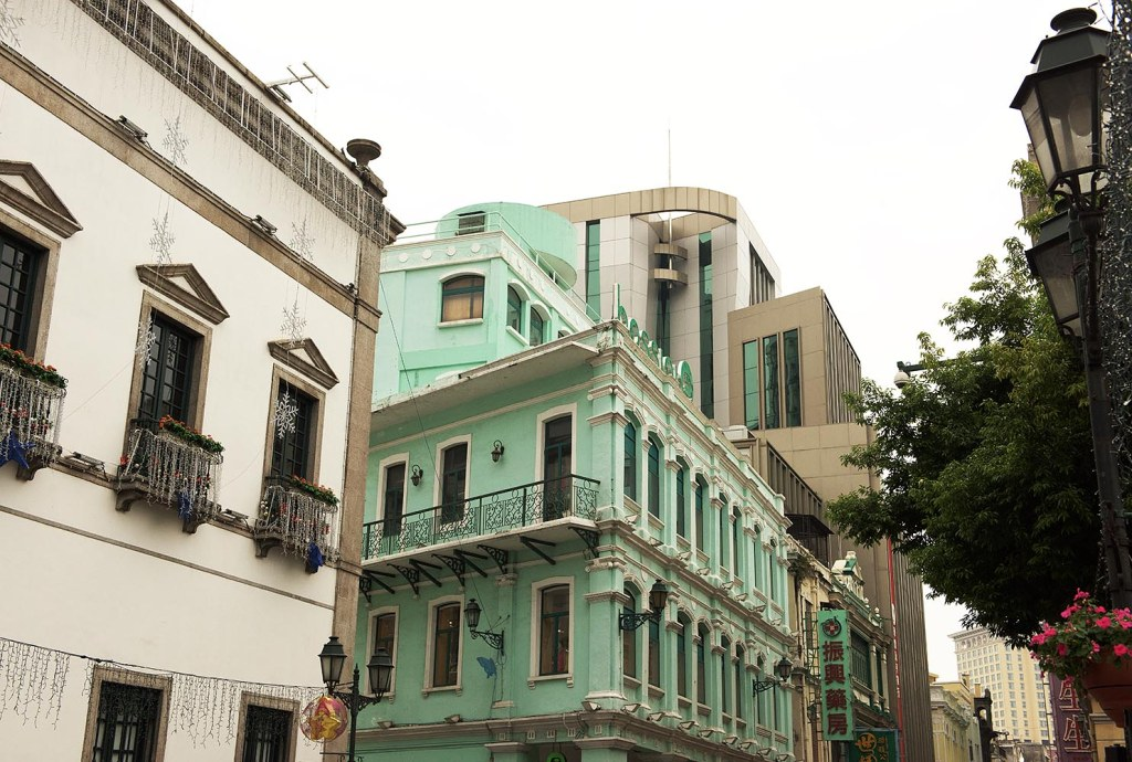 Traditional pastel-hued architecture in Macau near Senado Square