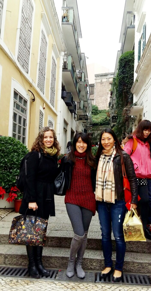 The girls and I enjoy our time strolling through historic Macau